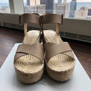 Sole Society SO-Audrina wedge espadrilles in Taupe